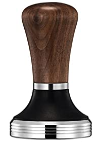 Diguo Elegance Wooden Coffee Tamper - Espresso Tamper 58mm Stainless Steel Flat Base Wooden Handle Bean Barista Espresso Tamper Pressure Kitchen Tool Accessories