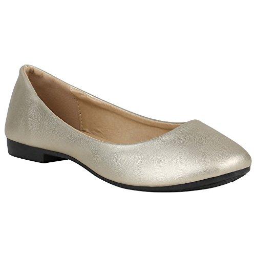 Stiefelparadies Klassische Spitzen Damen Ballerinas Flats Schleifen Lack 155250 Gold Metallic 38 | Flandell® (Schuhe Ballerinas Gold)