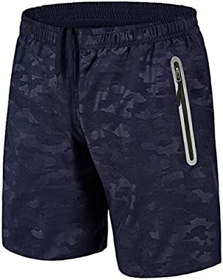 TACVASEN Quick Dry Breathable Men's Running Shorts with Reflective Zipper Pockets