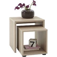 Sb-Design - Juego de 2 mesas auxiliares (45 x 48 x 40 cm, madera de roble)