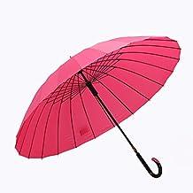 Ombrello antivento rinforzato a 24 osso, Ombrello lungo a manico lungo, Colore per donna, da lavoro, da golf, da esterno ( Colore : Rosa )