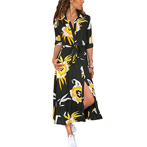 LRUD Damen Blumendruck Hohe Teilung Taste gedrückt Belted Maxikleid Langes Kleid Hemdkleid für Urlaub Schwarz Gelb m -