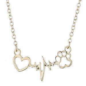 electrocardiogramas perros: ChuangYing Pin Creativo electrocardiograma Perro Pata de impresión Amor Collar E...