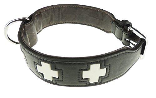 Glamour Girlz Hundehalsband, Größe L, Echtleder, leuchtet im Dunkeln, mit Schweizer Kreuz, erhältlich in 5Farben