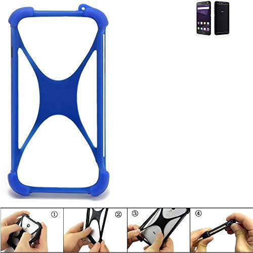 K-S-Trade Handyhülle für ZTE Blade V8 64 GB Silikon Schutz Hülle Cover Case Bumper Silikoncase TPU Softcase Schutzhülle Smartphone Stoßschutz, blau (1x)