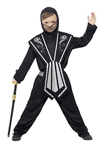 Kostüm Ninja Silber - Smiffys 21127M - Kinder Jungen Ninja Kostüm, Alter: 7-9 Jahre, Größe: M, schwarz/silber