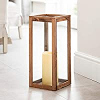 Lights4fun Floor Candle Lantern Battery Operated Warm White LED Large Wooden with Timer 50cm