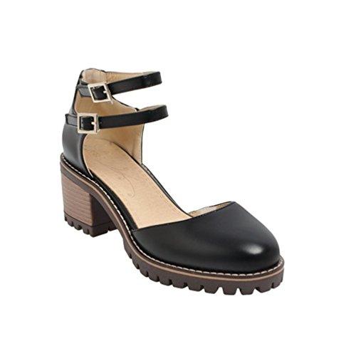 Xinwcang Scarpe con Tacco Grosso Donna Elegante Cinturino Caviglia Tacco Alto Nero Asia 38