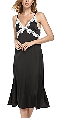 Ekouaer Women's Sexy V Neck Lace Trim Satin Chemise Sleep Gown (Black, XS)