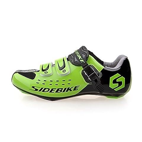 Herren Rennrad Rennradfahren Schuhe EU-Größe 43 Fuß Länge: 270 mm Vorfuß Breite 90.32mm Schwarz und Grün (Wählen Sie eine Größe mehr als üblich)