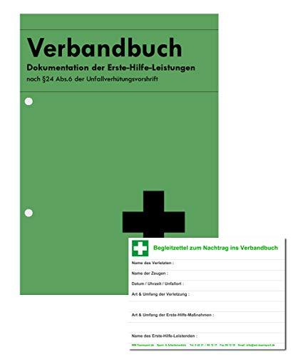 Verbandbuch - Erste Hilfe Din A5 MIT Lochung n. §24 Abs.6 der Unfallverhütungsvorschrift INKL. Begleitblock -DSGVO konform-