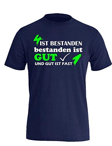 4 ist Bestanden - Bestanden ist Gut und Gut ist fast 1 - Herren Rundhals T-Shirt Navy/Weiss-neongruen