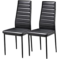 Popamazing Pair Black Modern Faux Leather Parson Dining Chairs Set Of 2  High Back Seat Kitchen