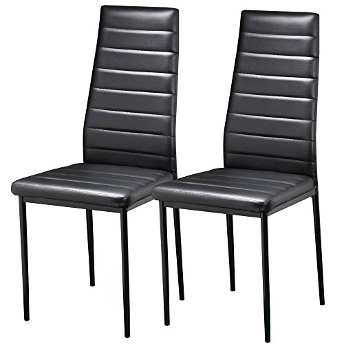 Popamazing Pair Black Modern Faux Leather Parson Dining Chairs Set of 2 High Back Seat Kitchen Dining Room Furniture