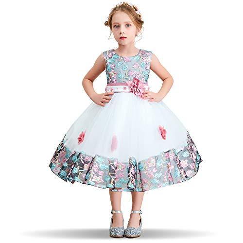 NNJXD Blumenmädchen Kleid gestickte Weihnachtshochzeit Geburtstagsfeier Tutu-Kleid für Mädchen Größe (150) 7-8 Jahre Rosa -