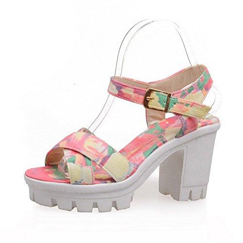 VogueZone009 Damen Pu Leder Gemischte Farbe Schnalle Sandalen Mit Hohem Absatz Pink