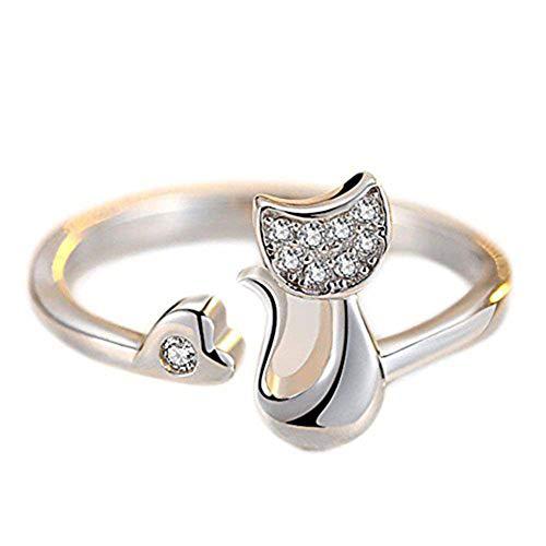 Westeng Silberring, verstellbare Größe, Schlangenform, offener Ring, Damenring, Schmuck und Accessoires A Katze