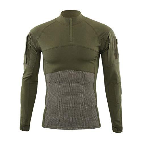 Auied Männer Muskel Taktisch Lange Ärmel Elastisch Schnell Trocken Comfortable Fit Ausbildung T-Shirts Blusen