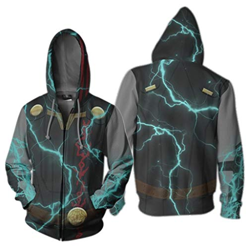 K-Flame Mens 3D Hoodie Avengers Endspiel Hoodie Pullover mit Reißverschluss Jacke Sweatshirt Adult Cosplay Kostüm Uniform,Blue,M