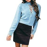 Xinxinyu Hueco Suéter Tejido Mujeres, Atractivo Jersey Largo Punto Abriago, Otoño Invierno Manga Larga Encantador Blusas Tops para Bar Vocación (L, Azul)