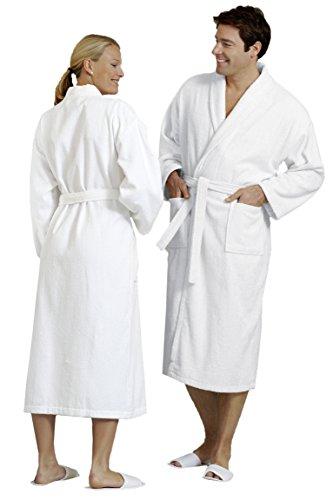 ZOLLNER® Bademantel - Saunamantel mit Schalkragen unisex L weiß 100 % Baumwolle Serie Miami
