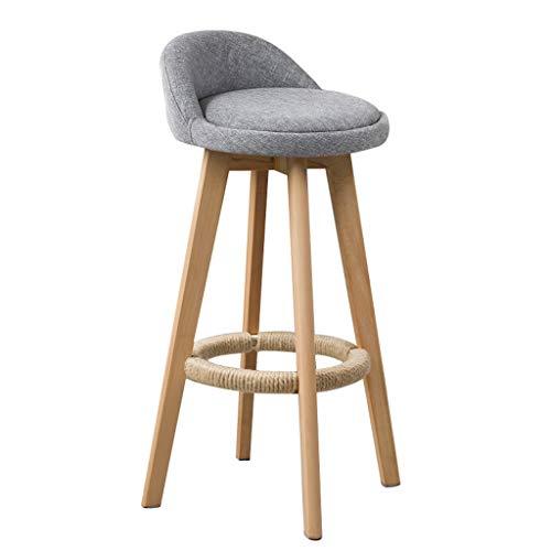NYJ Barhocker Schmiedeeisen Retro Barhocker, 360 ° drehbarer Küchen-Frühstücksstuhl mit Rückenlehnen Fußstütze Höhe 73 cm (Color : Light Gray) -