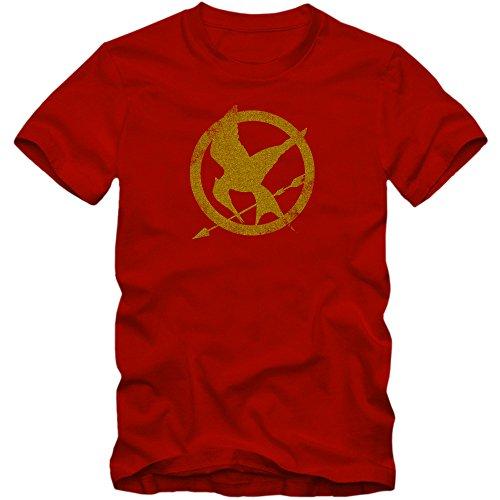 The Hunger Games T-Shirt | Men | Fantasy | Science Fiction Film | Film Fun Shirts, Colour:Red;Size:Medium
