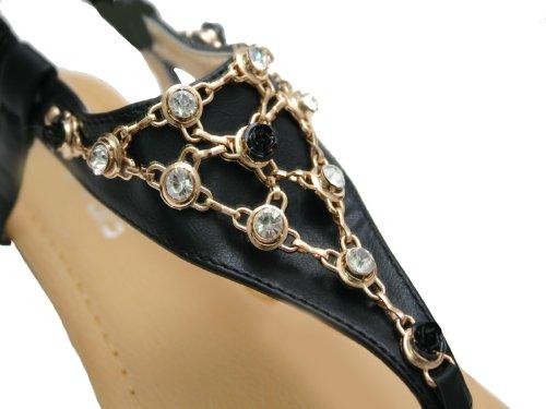 JustGlam - Scarpe Donna Infradito tacco basso in ecopelle con strass Nero