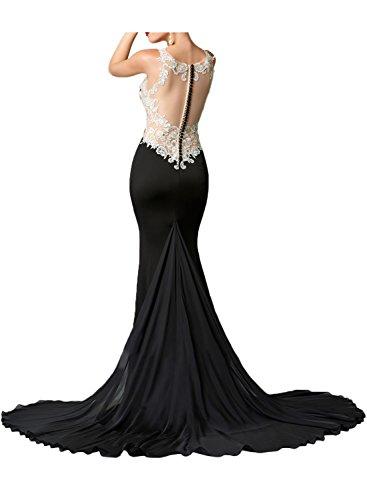 Gorgeous Bride Elegant Lang Rundkragen Meerjungfrau Chiffon Spitze Tüll Schleppe Abendkleider Lang Cocktailkleider Ballkleider Fuchsia