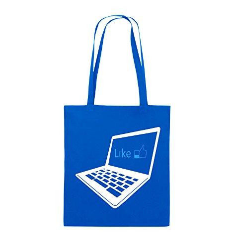 Comedy Bags - I like laptop - Jutebeutel - lange Henkel - 38x42cm - Farbe: Schwarz / Weiss-Neongrün Royalblau / Weiss-Hellblau