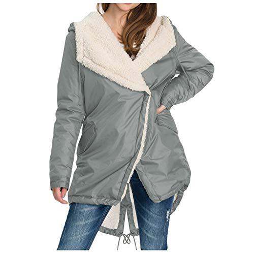 CAOQAO Damen Winter Mantel Kunstfell Oberbekleidung Sweatshirt Warm GefüTterte Baumwolljacke Hohe QualitäT Verdickung ÜBergangs Jacke