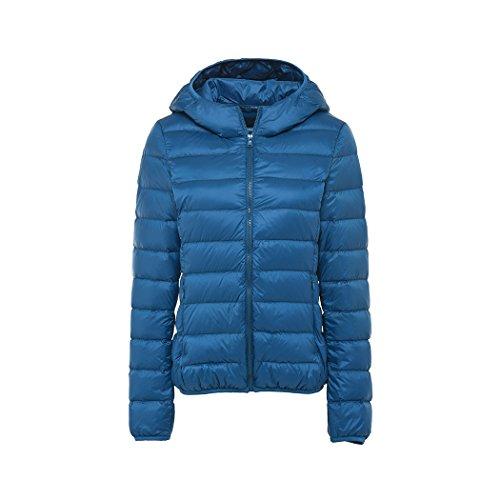 Donna Leggero Giacche di piuma con Cappuccio Corta Giubbotto Giù ,Autunno e inverno lago blu