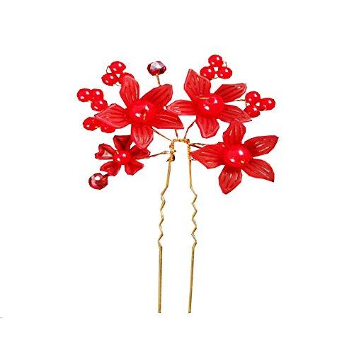 Clip-U strass Hairpin Hoop cheveux Marié mariée bijoux de mariage rouge