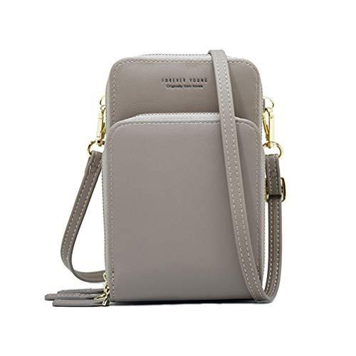 Handy Schultertasche, Crossbody Tasche, Damen Solide PU Leder Kupplungtasche Kartentasche Handytasche Umhängetasche