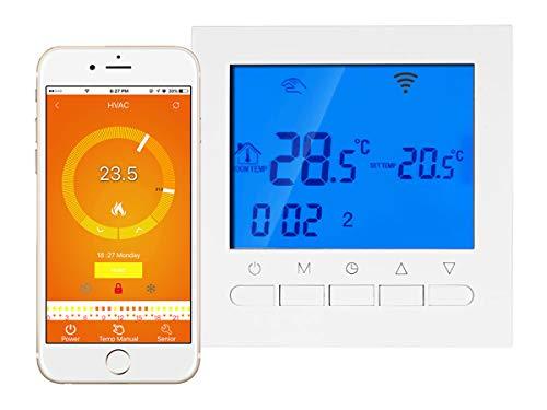 LEDLUX LL0251 Termostato Digitale Per Caldaia A Gas Murale Da Parete Riscaldamento Termosifone Ad Acqua WiFi Compatibile Con Amazon Alexa Echo Schermo LCD Con Tasti 3A 220V