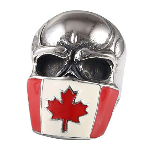 XIABME Men's Stainless Steel Canada Red Maple Leaf Flag Skull Mask Head Ring
