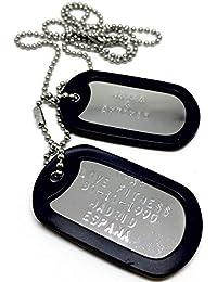 Chapas Militares Personalizadas Grabadas en Relieve / Juego de 2 Chapas y Cadenas de Acero inoxidable