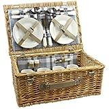Apollo-Cesta de mimbre para picnic para 4personas, color marrón