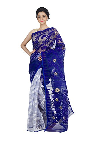 RLBFashion Dhakai Jamdani Saree (White & Blue)