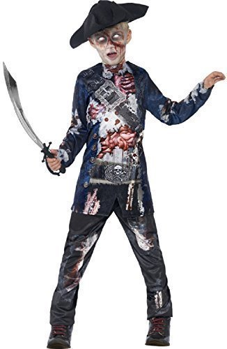 Jungen Teens Deluxe Dead Blutige Zombie Jolly Rotten Piraten BUCANEER Halloween Kostüm 4-14 Jahre - 12-14 years (Pirat Bucaneer)