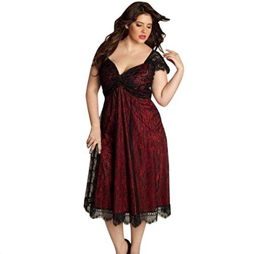 Damen Kleid Yesmile Frauen Plus Größe Sexy V Ausschnitt Floral Maxi Abend Boho Strandkleid Halb Ärmel Spitzenkleid Langen Prom Kleid Mode Eleganten Böhmischen Stil Kleid L-5XL (Rot 3, 3XL)