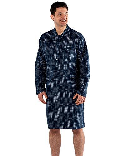 Camicia da notte da uomo 100% cotone spazzolato flanella fantasia rombi Navy Nightshirt Medium