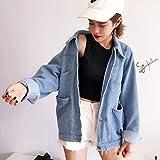HermosaUKnight Klassischer Denim-Mantel im koreanischen Stil Damen Relaxed Fit Tops Langarm-Jeansjacke Umlegekragen Outwear Hellblau-Hellblau (S)