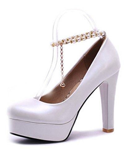Aisun Damen Süß Künstliche Perlen Metall Knöchelriemchen Trichterabsatz Pumps Weiß 36 EU bJvFlmmL7