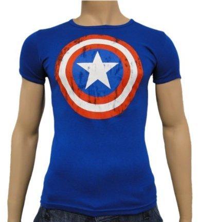 Captain America Shield T-Shirt, cooles Comic Shirt, hochwertig - (Superhelden Erwachsene Shirts Für)