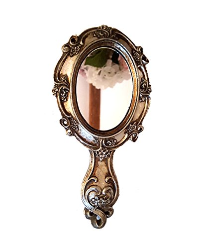 LB H&F Handspiegel Silber Barock Kosmetikspiegel Schminkspiegel Jugendstil Deko - 25 cm (Silber)