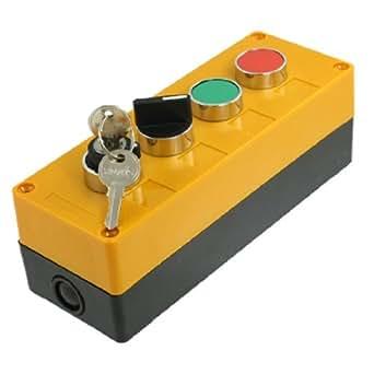 AC 400V 10A Rouge Vert Cap Verrouillage sélecteur rotatif Commutateur station de bouton-poussoir