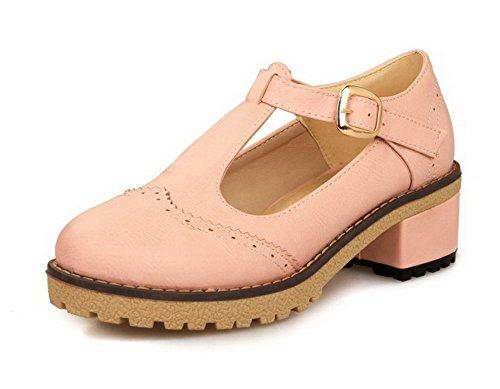 VogueZone009 Femme Couleur Unie Pu Cuir à Talon Correct Rond Boucle Chaussures Légeres Rose