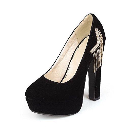 VogueZone009 Femme Tire à Talon Haut Suédé Couleur Unie Rond Chaussures Légeres Noir