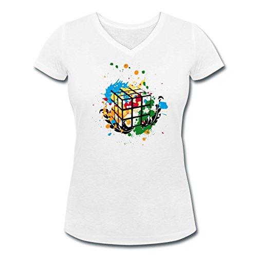 Rubik's Cube Peinture Taches De Couleur T-shirt col V Femme de Spreadshirt® Blanc